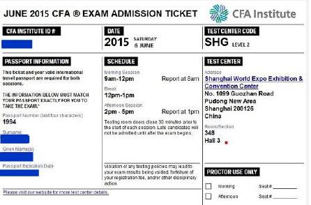 CFA准考证