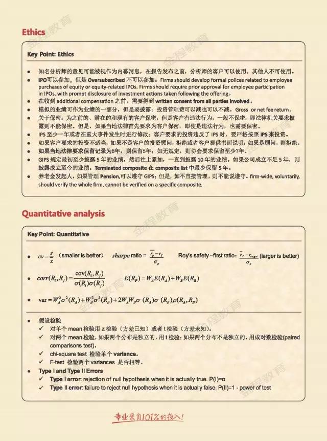CFA考试常用公式表