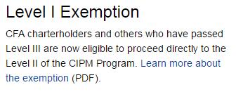 CFA协会免考
