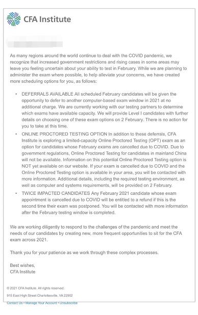 CFA协会官宣:2021年2月CFA考生可以选择延期到任意窗口,无需支付额外费用!