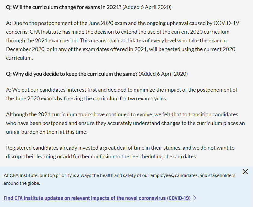 CFA2月考生延期截止日与2021年考纲变化